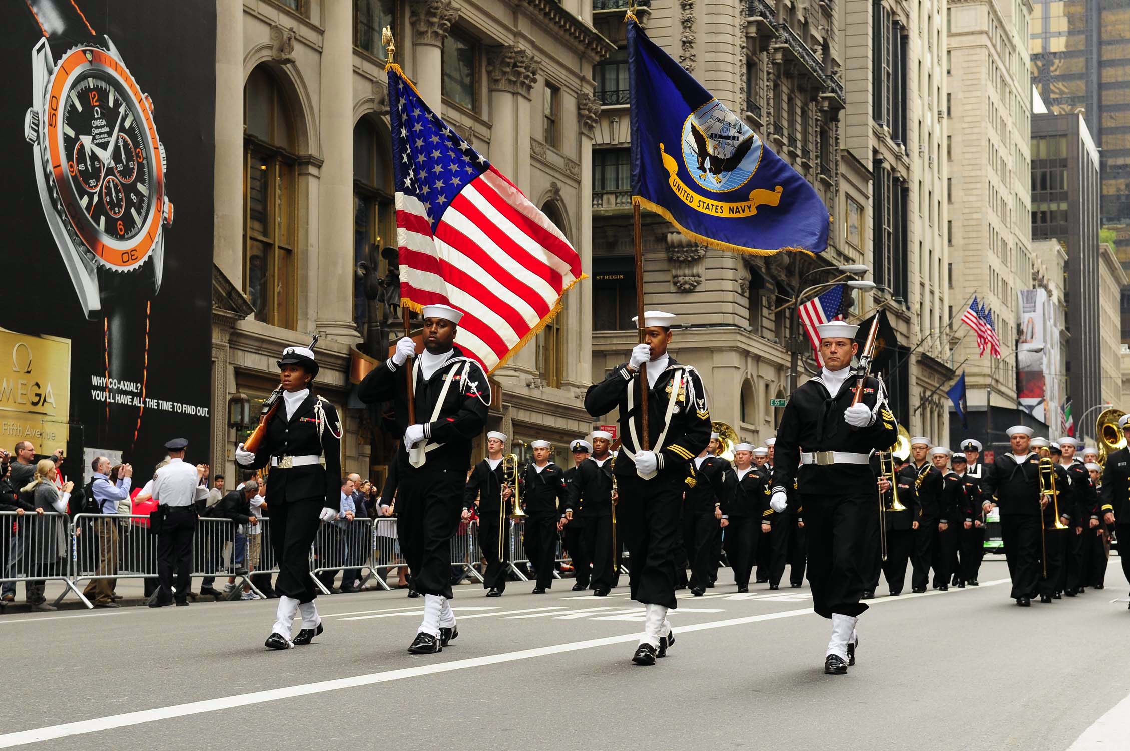 081013-N-5758H-061 NEW YORK (Oct. 13, 2008) Navy Operation Support Center, Bronx Color Guard leads the 64th Annual Columbus Day Parade up New York City's 5th Avenue. The parade is sponsored by the Columbus Citizens Foundation every year as part of Columbus Day Celebration, with this year's festivities commemorating the Great White Fleet Voyage in 1907. (U.S. Navy photo by Mass Communication Specialist 3rd Class Kenneth R. Hendrix/Released)