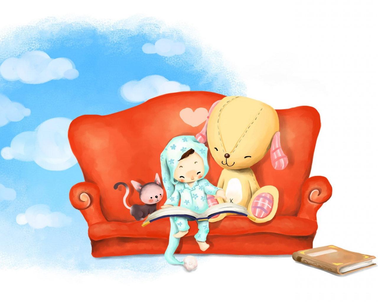 book_sky_sofa_rabbit_toy_leisure_54101_1280x1024
