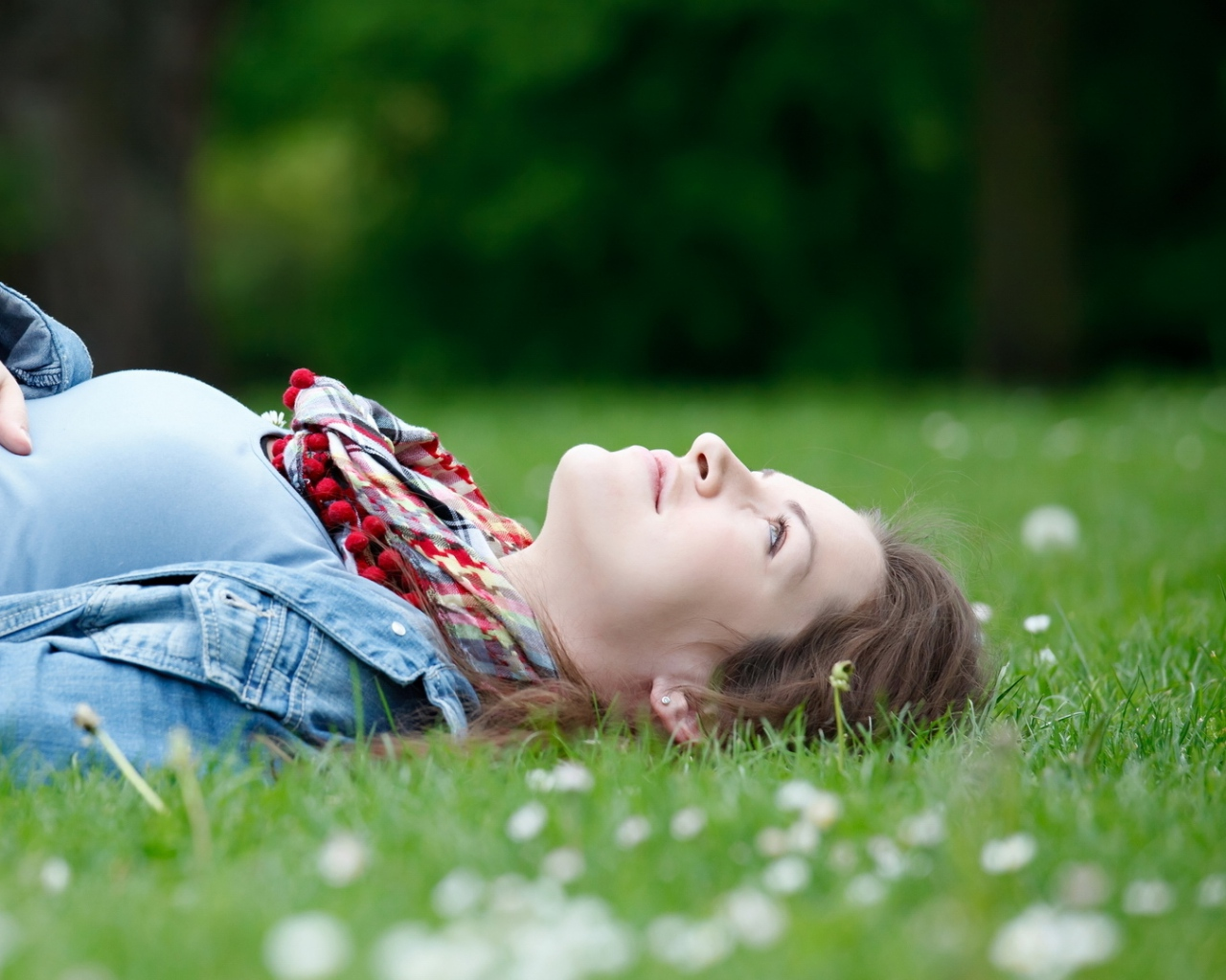 girl_lying_grass_pregnancy_stomach_smiling_happiness_55127_1280x1024