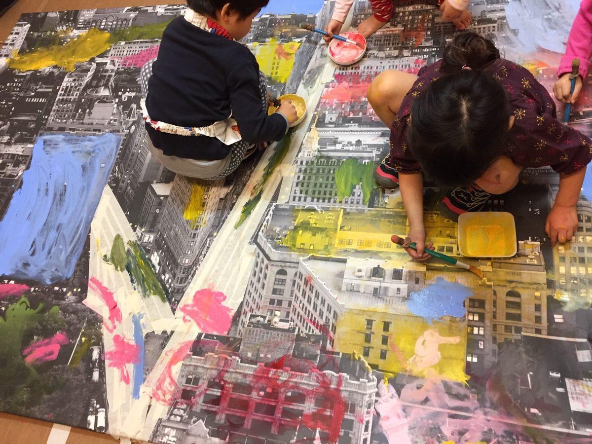 アートな街並みにペイント!モネットスクール大阪/子ども幼児 「立体・造形・絵画教室」