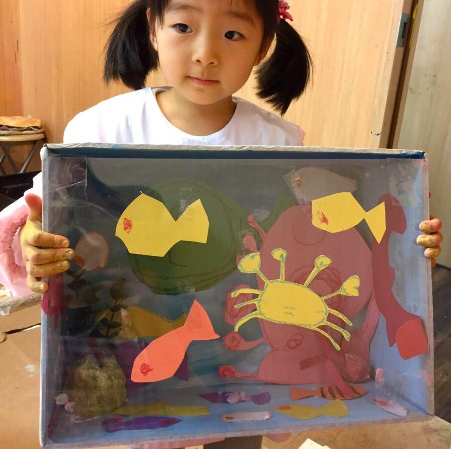 紙ねんどを使ったボックスアート作品!モネットスクール大阪「子ども幼児 立体 造形 絵画」