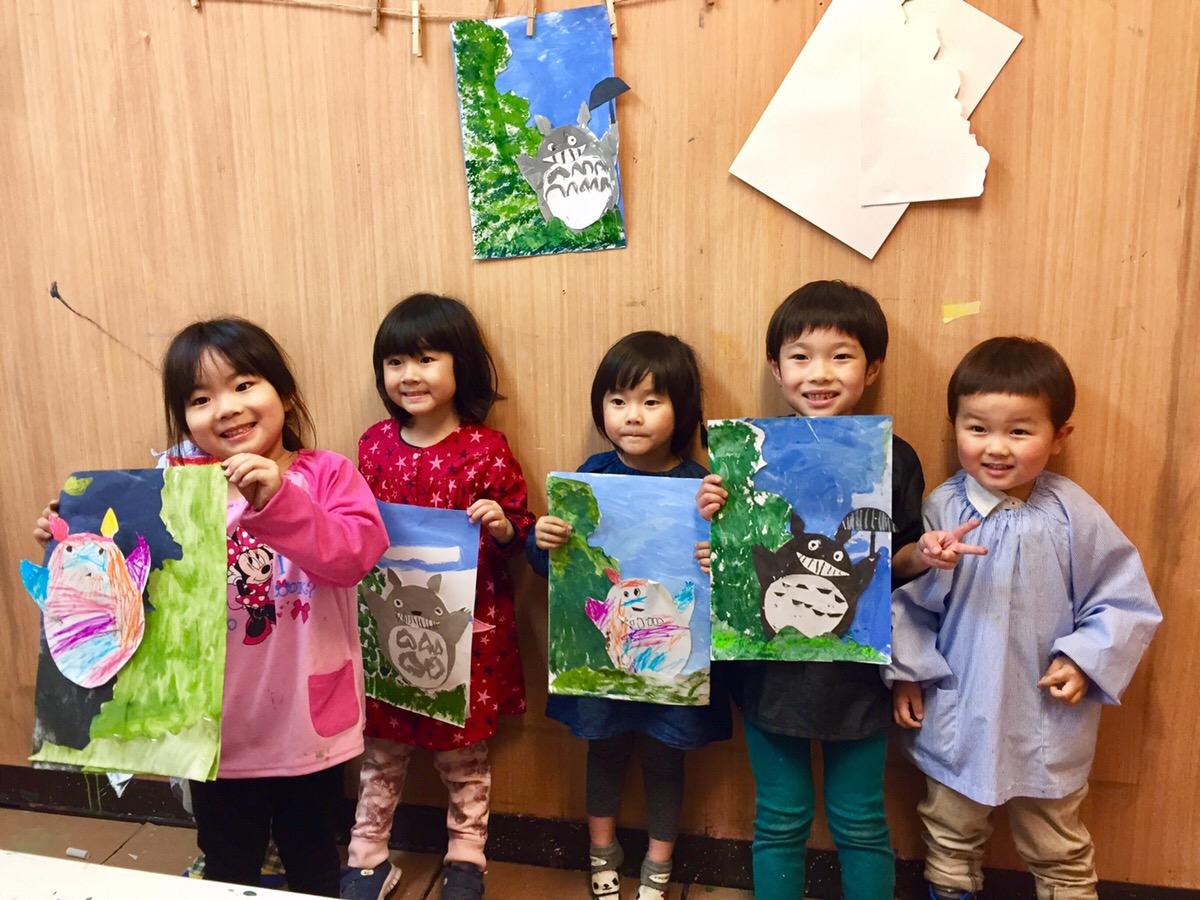 トトロをテーマにジブリ風の絵画に挑戦!【モネットスクール大阪】子供幼児のアート&英会話