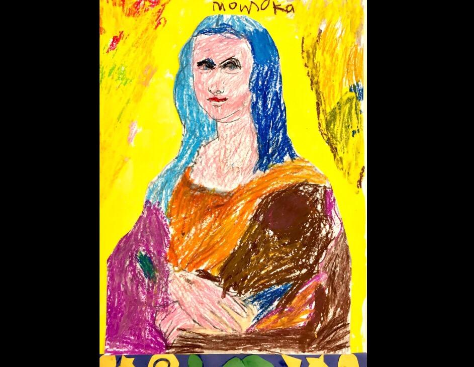 「モナリザ」を描きました!【モネットスクール大阪/幼児子どもの英会話&アート教室】