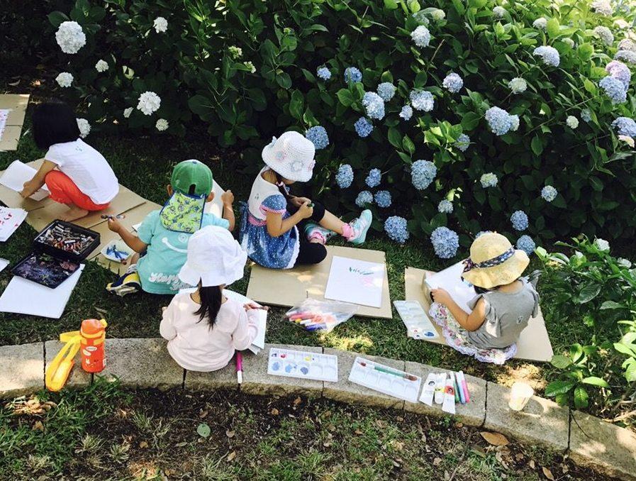 「中之島公園でお絵描き!」幼児子どものアート&英会話/モネットスクール大阪