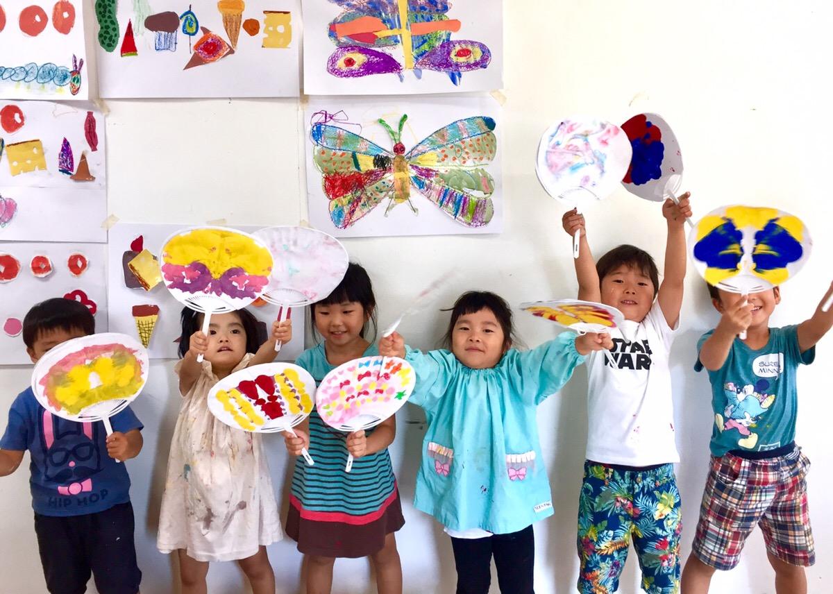 うちわを作る!幼児子どものアート/英会話/プログラミング教室【モネットスクール大阪】