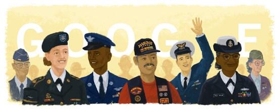 アメリカの休日ベテランズデー(復員軍人の日)11月11日を祝うアメリカンブランドセール開催_googleロゴ