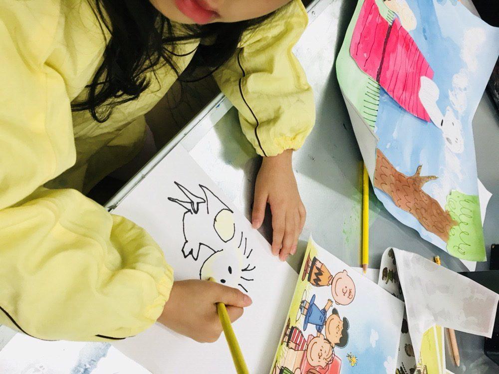 子供たちがスヌーピーの世界観を表現!キャラクタードローイングにも挑戦!