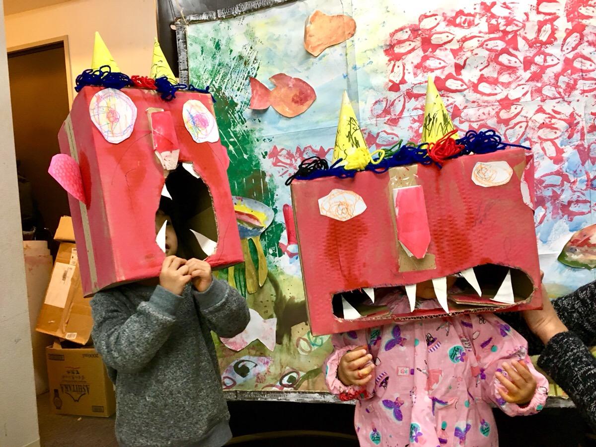 節分の工作に!子供たちが大きな鬼のお面をつくりました!