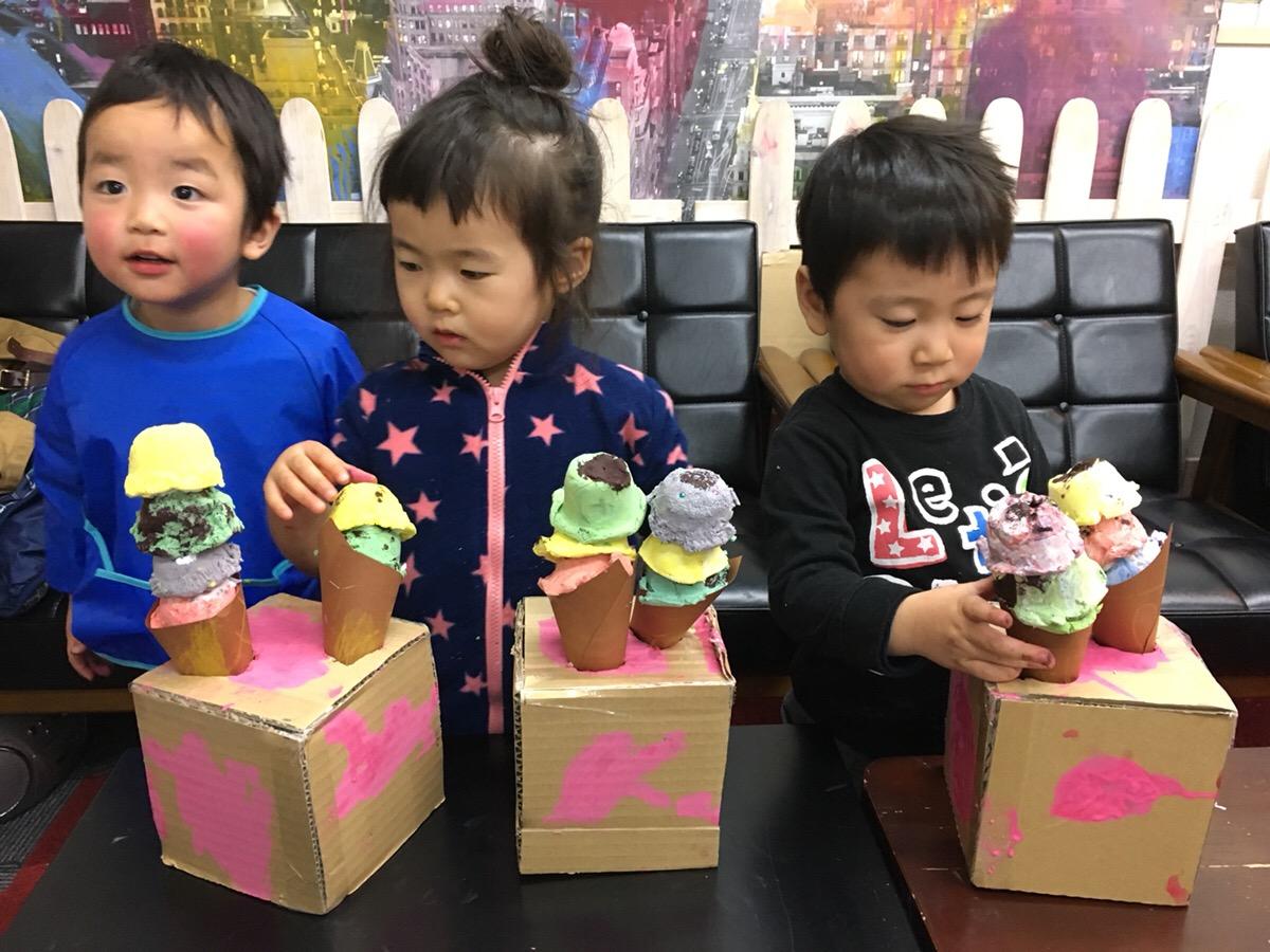 紙ねんどでアイスクリームをつくる!土曜午前アート&イングリッシュクラスもスタート