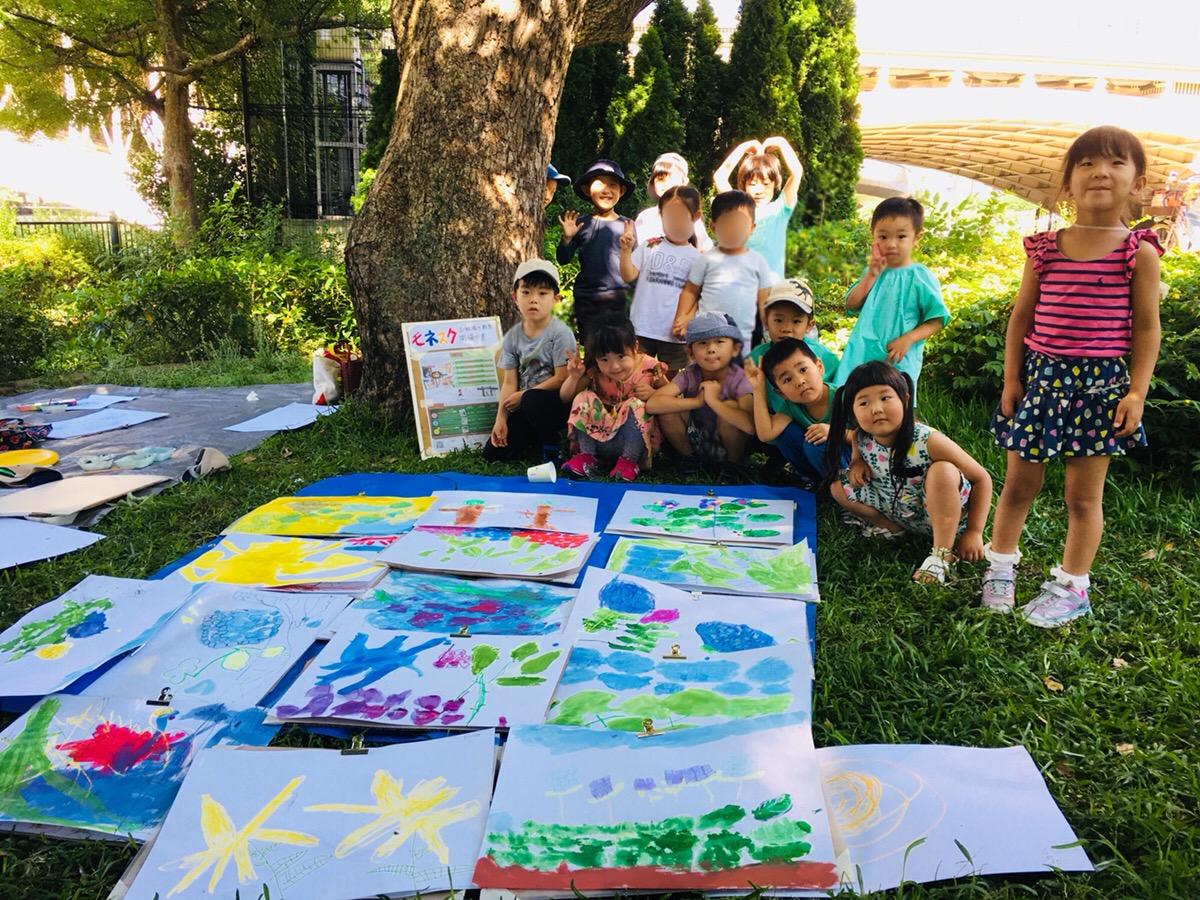 屋外でお絵描き!子どもたちが中之島公園でアジサイを描きました!