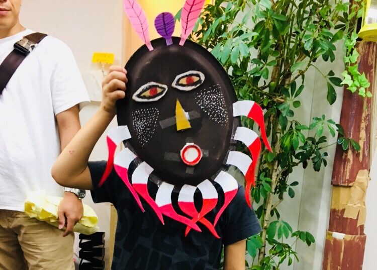 こどものアフリカンアート「オリジナルのマスク」をつくりました!