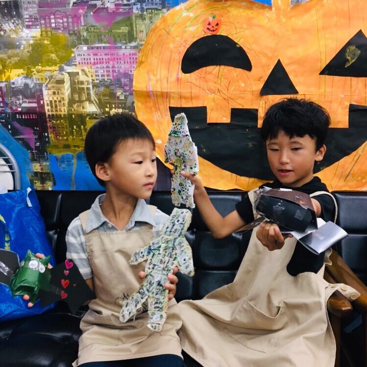 ハロウィンアート工作! 大阪の子供英会話 お絵描き教室