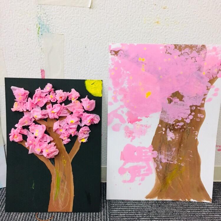 親子でつくる桜アート!絵の具を使った幼児のアートレッスン
