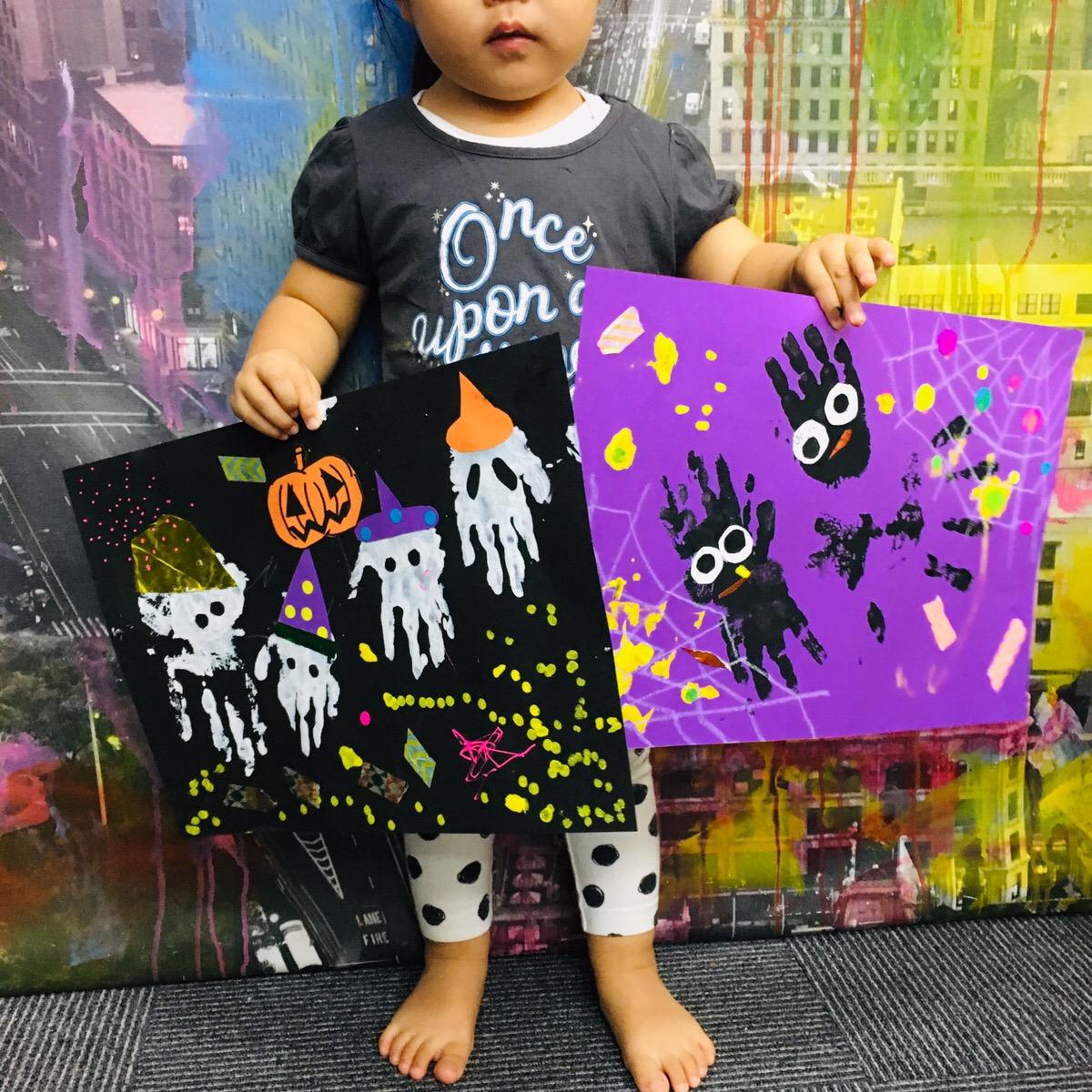 【親子で体験!ハロウィンアート】絵の具を使った手形アート