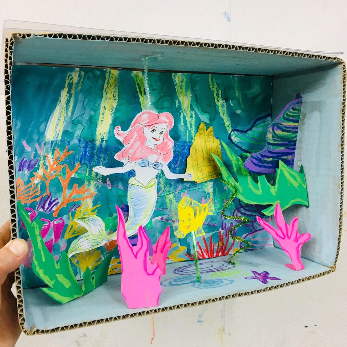 【リトルマーメイド 海の世界をジオラマで】アリエルのお絵描き・工作